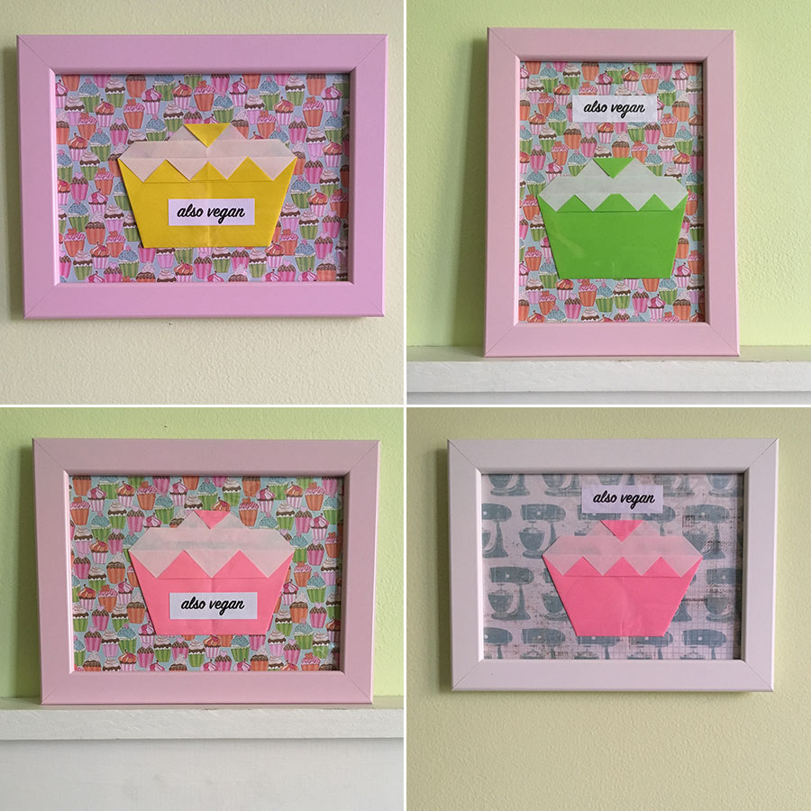 "5"" x 7"" framed origami mixed-media print featuring a tasty cupcake and ""Also Vegan"" phrase."